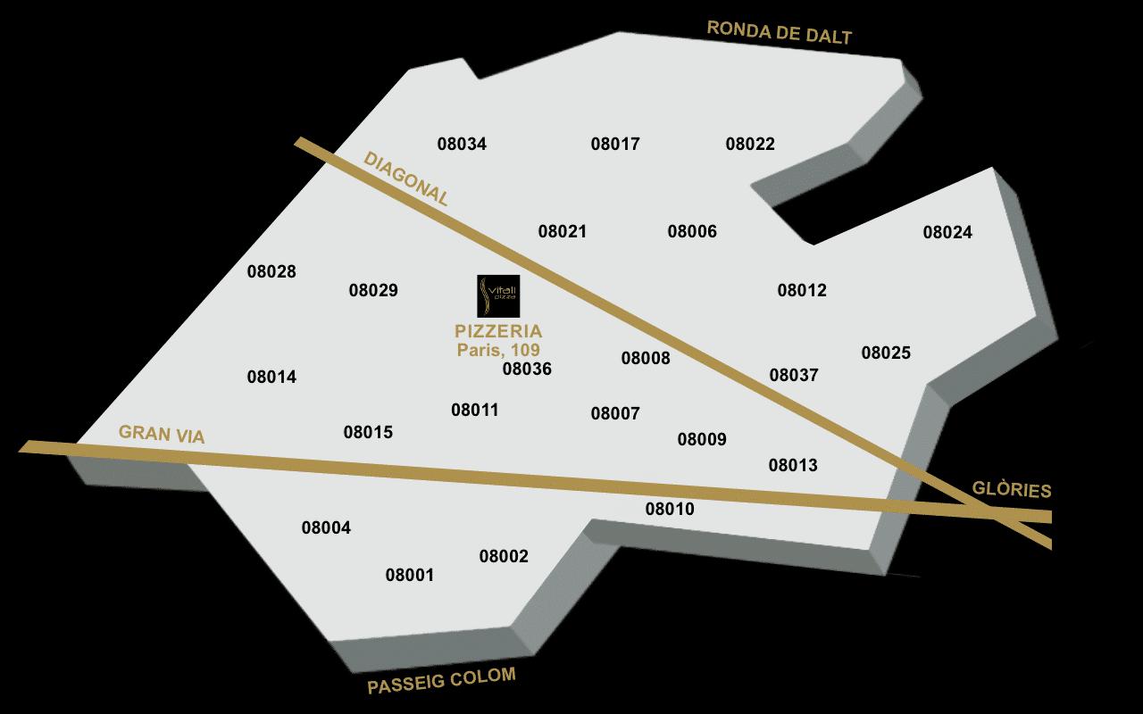 Mapa reparto - Vitali Pizza - Delivery - Entrega y reparto de pizzas a domicilio en Barcelona